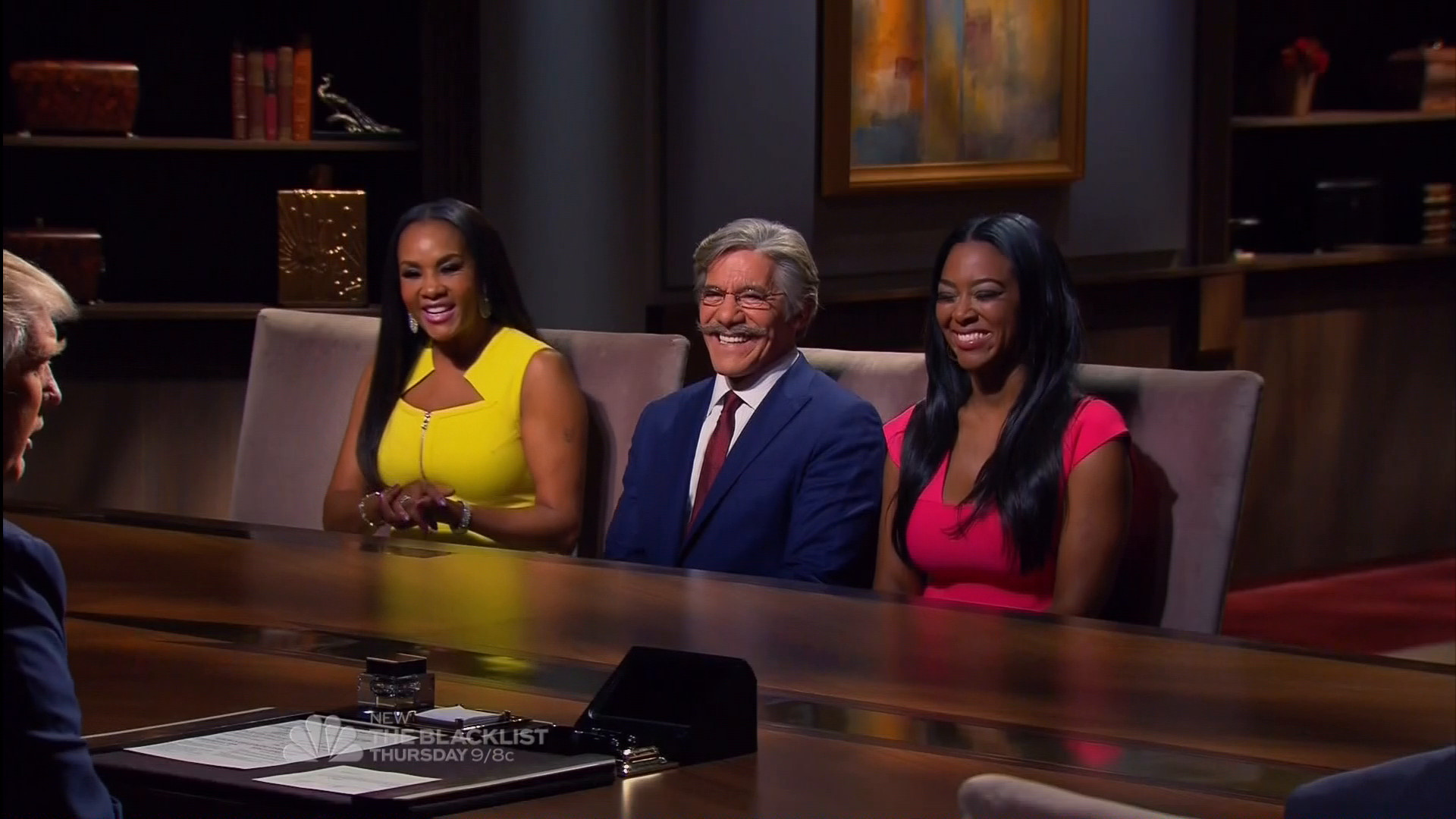 Geraldo Rivera with Kenya Moore and Vivica Fox in the Celebrity Apprentice Season 7 Boardroom